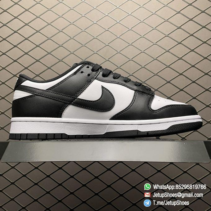 Best Replica Shoes Nike Dunk Low Black White White Leather Base Upper Black Overlays Around Toe and Heel SKU DD1391 100 02