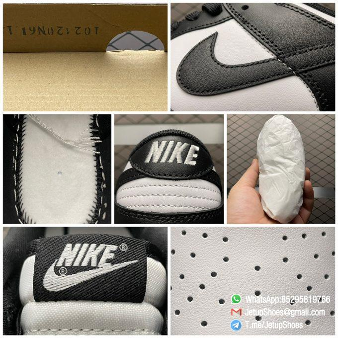 Best Replica Shoes Nike Dunk Low Black White White Leather Base Upper Black Overlays Around Toe and Heel SKU DD1391 100 09
